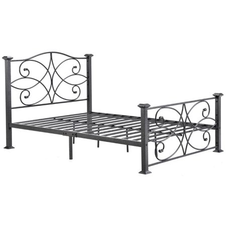 - Pemberly Row Queen Metal Platform Bed in Black and Silver