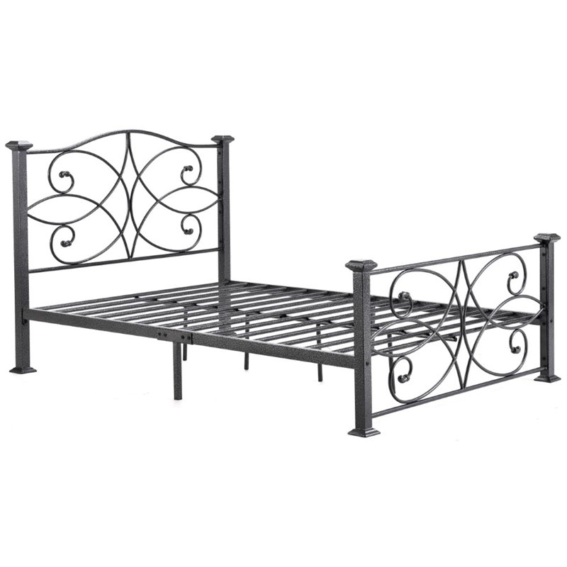 Pemberly Row Queen Metal Platform Bed in Black and Silver