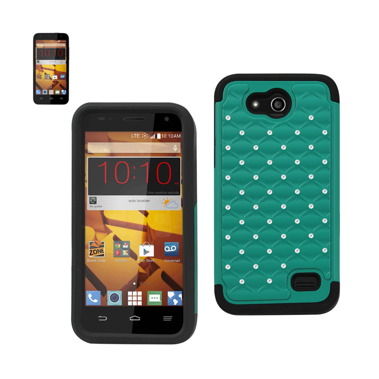 Reiko ZTE Speed Hybrid Heavy Duty Jewelry Diamond Case In Black Green