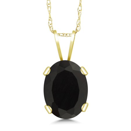 - 1.09 Ct Oval Black Onyx 14K Yellow Gold Pendant