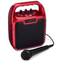 SoundBeast Pegasus Karaoke Machine & Portable PA Speaker System For Kids & Adults - With Microphones & Bluetooth (Red)