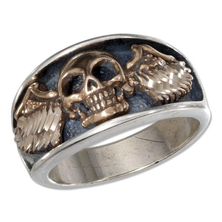 STERLING SILVER MENS BRONZE SKULL WITH WINGS - Mens Skull Rings