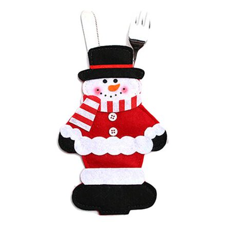 AkoaDa 4 Pcs Christmas Tableware Holders Set, Snowman Knife and Fork Bags Covers for Xmas Party Dinner Table Decorations Ornaments ()