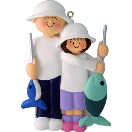 Fishing Friends Male Female Child Personalized  Christmas Ornament DO-IT-YOURSELF (Kids Christmas Ornaments)