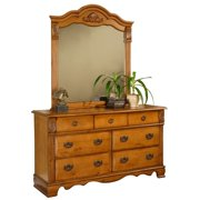 Picket House Furnishings Vivian Dresser with Mirror in Rich Pine