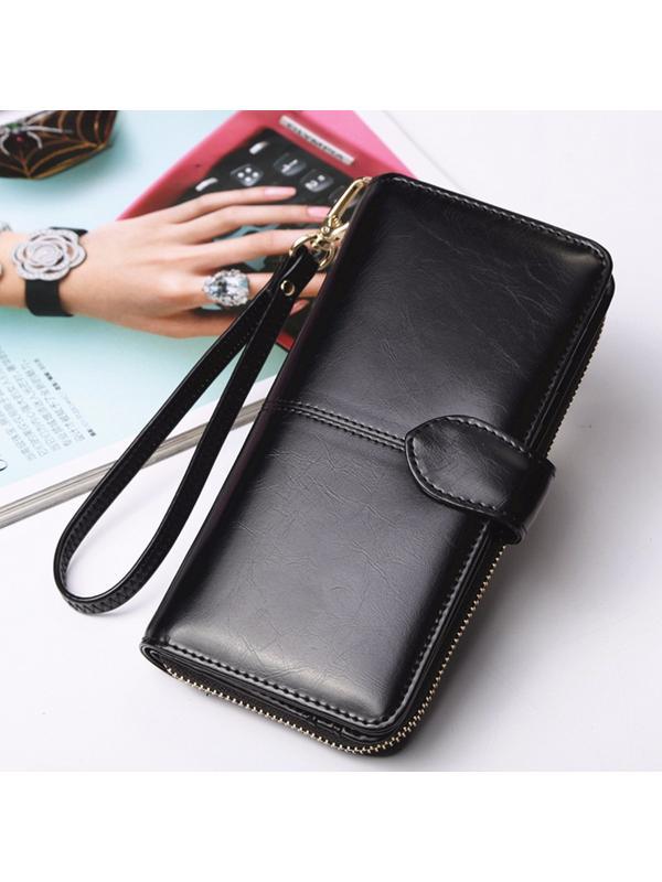 New Fashion PU Leather Wallets For Women Long Card Holder Zipper Clutch Phone Purse