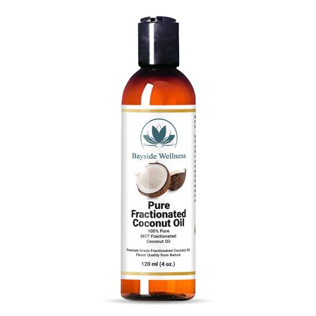 Bayside Wellness Premium Fractionated Coconut Oil 4 oz - Multipurpose for Aromatherapy, Smoother Skin, Softer Hair, Carrier Oil