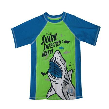 "OP Boys Green Blue ""Shark Infested Water"" Short Sleeve Rashguard"