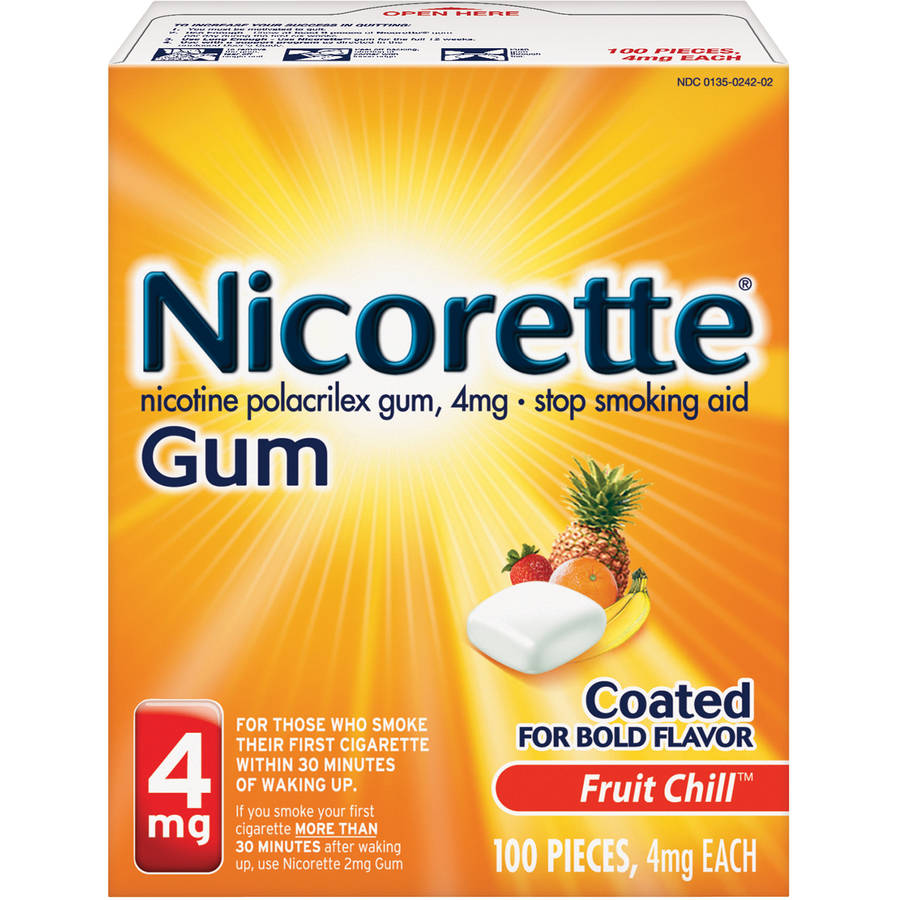 Nicorette Stop Smoking Aid Nicotine Gum, Fruit Chill Flavor, 4mg, 100 Pieces