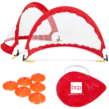 Best Choice Products Portable Pop-Up Soccer Net Goals Set of 2  w/ Cones & Case - Red