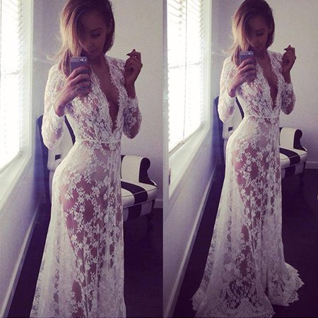 EFINNY Women Summer Dresses Floor-Length Lace Dress Adjust Waist Sexy See Through Floral