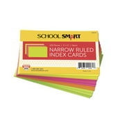School Smart Ruled Index Cards, 3 x 5 Inches, Assorted Neon, Pack of 100