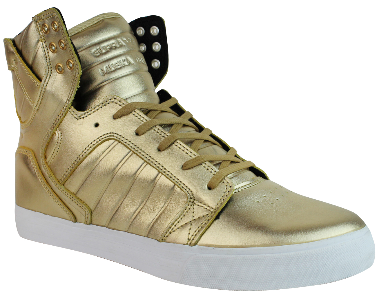 Vaider Men's Leather High Hi Top Fashion Sneakers Gold 08003-718-M