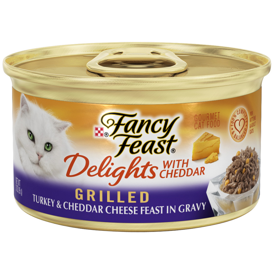 Purina Fancy Feast Delights Grilled Turkey & Cheddar Cheese Feast in Gravy Wet Cat Food, 3 Oz