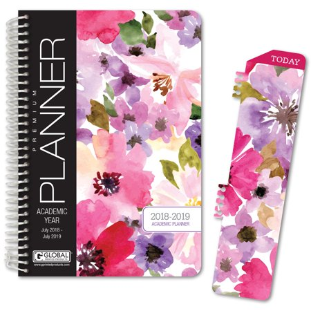"""HARDCOVER Academic Year Planner 2018-2019 - 5.5""""x8"""" Daily Planner / Weekly Planner / Monthly Planner / Yearly Agenda. Bonus BOOKMARK (Spring Floral)"""