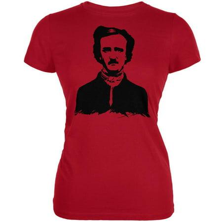 Halloween Edgar Allen Poe Red Juniors Soft T-Shirt - Allen Halloween No Love