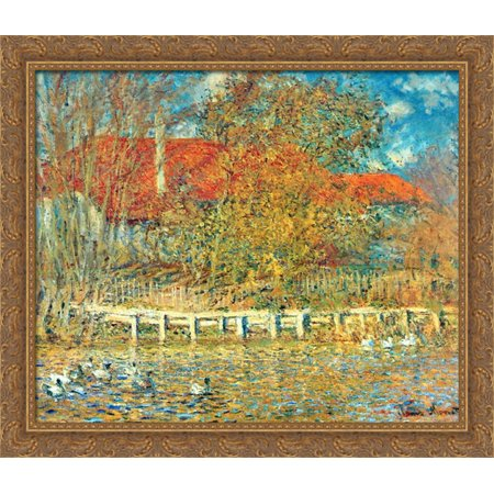 Golden Pond Duck (The Pond with Ducks in Autumn 32x28 Large Gold Ornate Wood Framed Canvas Art by Claude Monet )