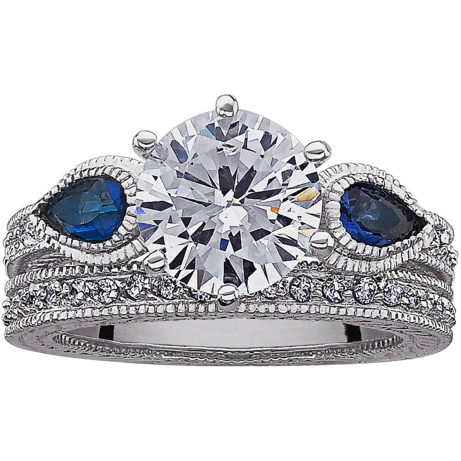 5.46 Carat T.G.W. Round CZ Solitaire and Created Blue Spinel Silver-Tone Bridal Set