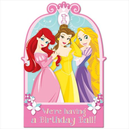 Disney Princess 1st Birthday Invitation Set w/ Envelopes (8ct) - Halloween First Birthday Photo Invitations