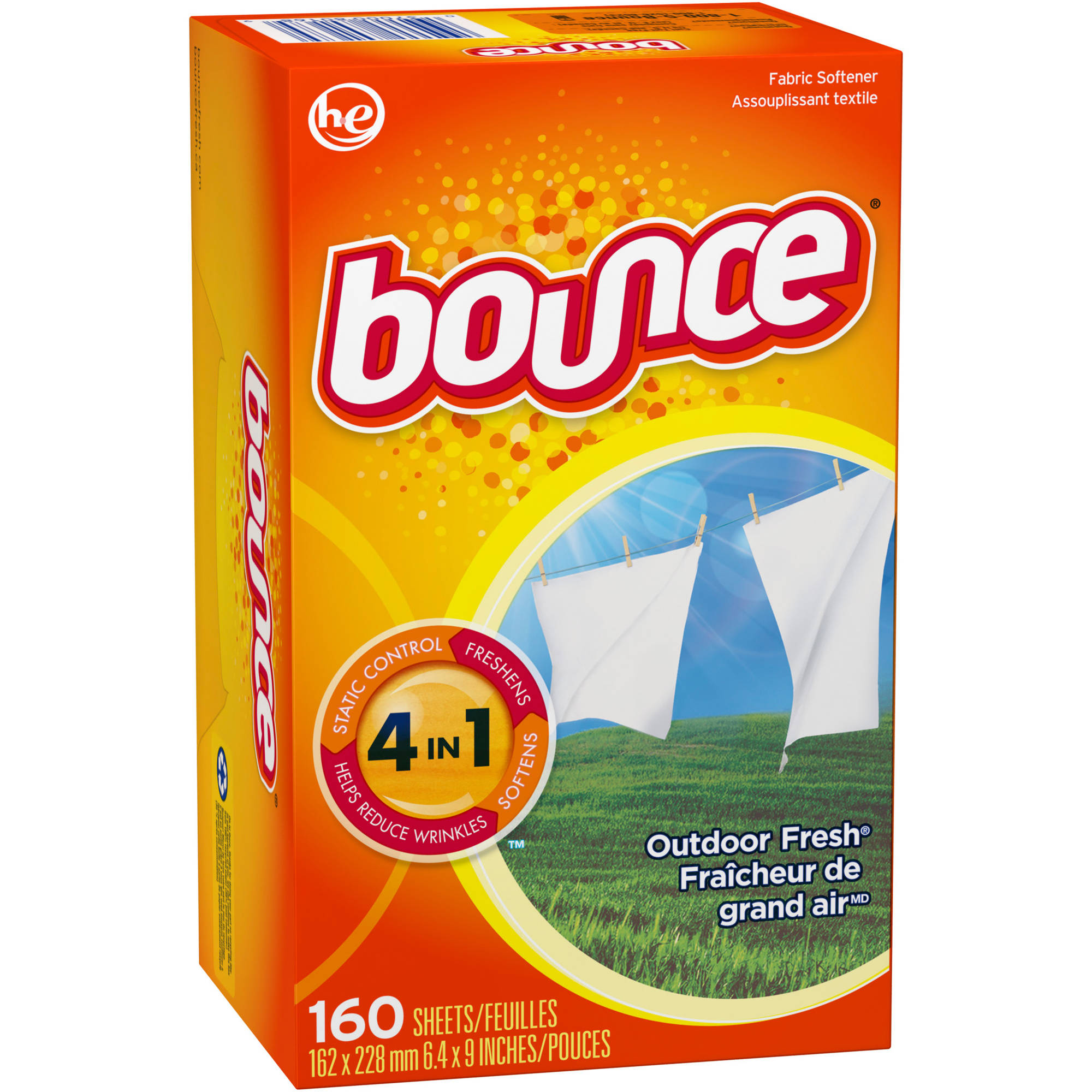 Bounce Outdoor Fresh Fabric Softener Sheets, 160 sheets