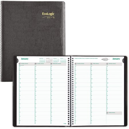 Brownline, REDCB425WBLK, Recycled Ecologix Weekly Planners, 1 Each, Black