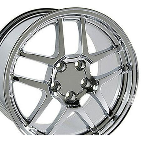 18x10.5/17x9.5 Wheels Fit Corvette, Camaro - C5 Z06 Style Chrome Rims - Staggered SET