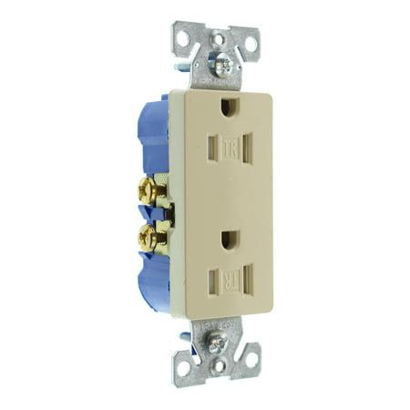 Hubbell RRD15SITRZ Duplex Decorator Receptacle Outlet, TR, 15-Amp, 120-Volt, (Hubbell Duplex Receptacle)