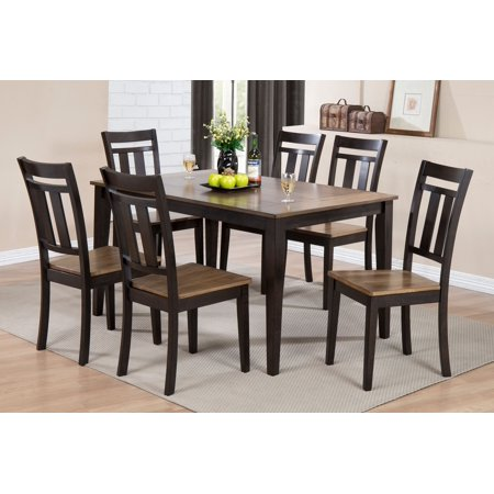 7 piece acacia two tone black wood rectangle kitchen for Kitchen table set 7 piece