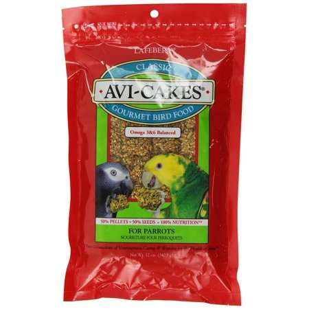 LAFEBER'S Classic Avi-Cakes Pet Bird Food, Made with Non-GMO and Human-Grade Ingredients, for Parrots, 12 oz, NUTRITIONALLY COMPLETE FORAGING.., By (Avi Cakes Food)