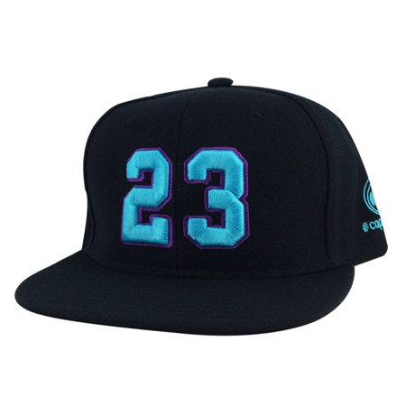Player Jersey Number #23 Snapback Hat Cap x Air Jordan Grape - Black Aqua Purple ()
