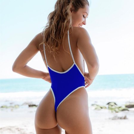 New Sexy Women One-piece Swimsuit Plunge V Neck High Cut Thong Solid Monokini Swimwear Bathing Suit ()