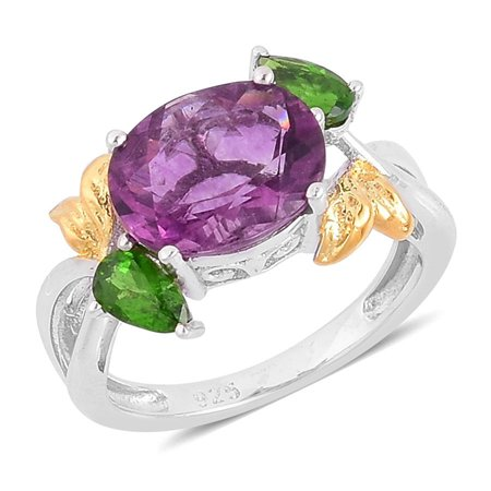 - Purple Fluorite Diopside 14K Yellow Gold Over and 925 Sterling Silver Split Gift Ring For Women 4.1 Cttw
