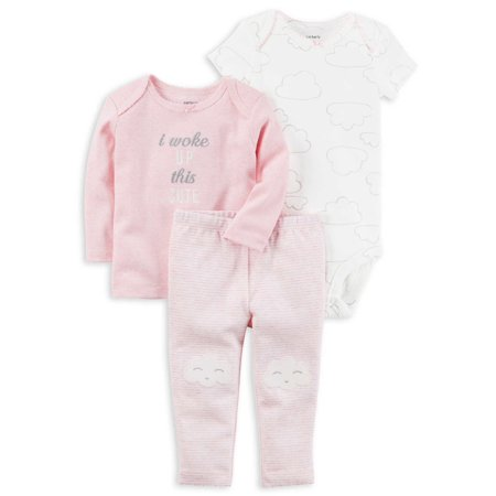 5ff8210c2681 Carters Baby Girls 3-Piece Little Character Set Woke Up This Cute Pink