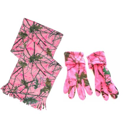 Hot Pink Gloves (Women's Hot Pink  Camo Scarf and Gloves Set Blazing Pink)