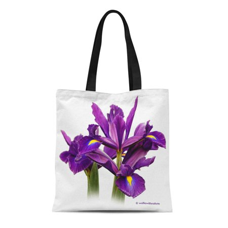 LADDKE Canvas Tote Bag Green Flower Dutch Iris Purple Beardless White Reusable Handbag Shoulder Grocery Shopping Bags