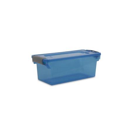 Homz 7.5 Qt. Plastic Storage Tote with Latches, Blue (Set of 10) ()