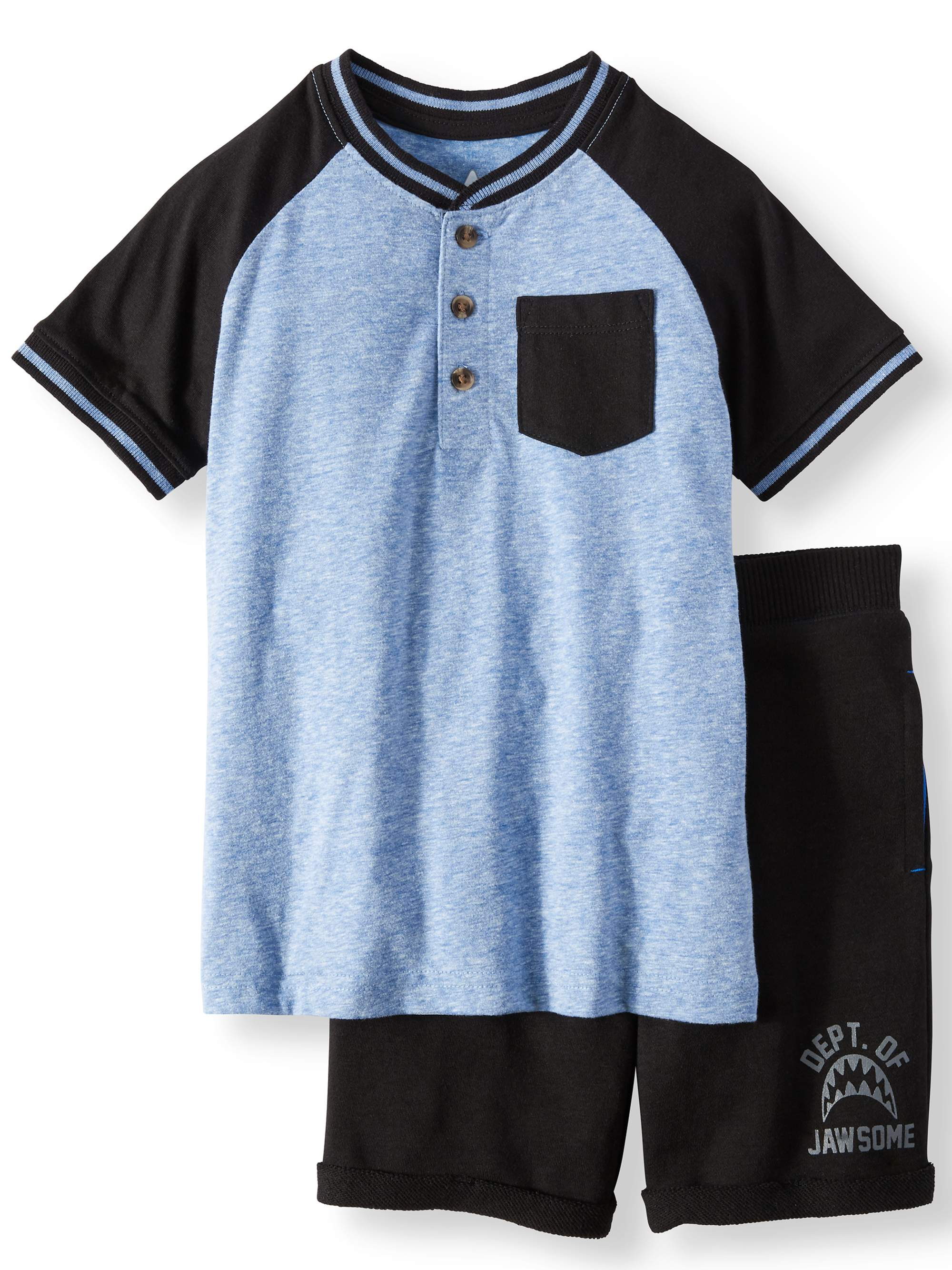 Henley & Essential Shorts, 2-Piece Outfit Set (Little Boys & Big Boys)
