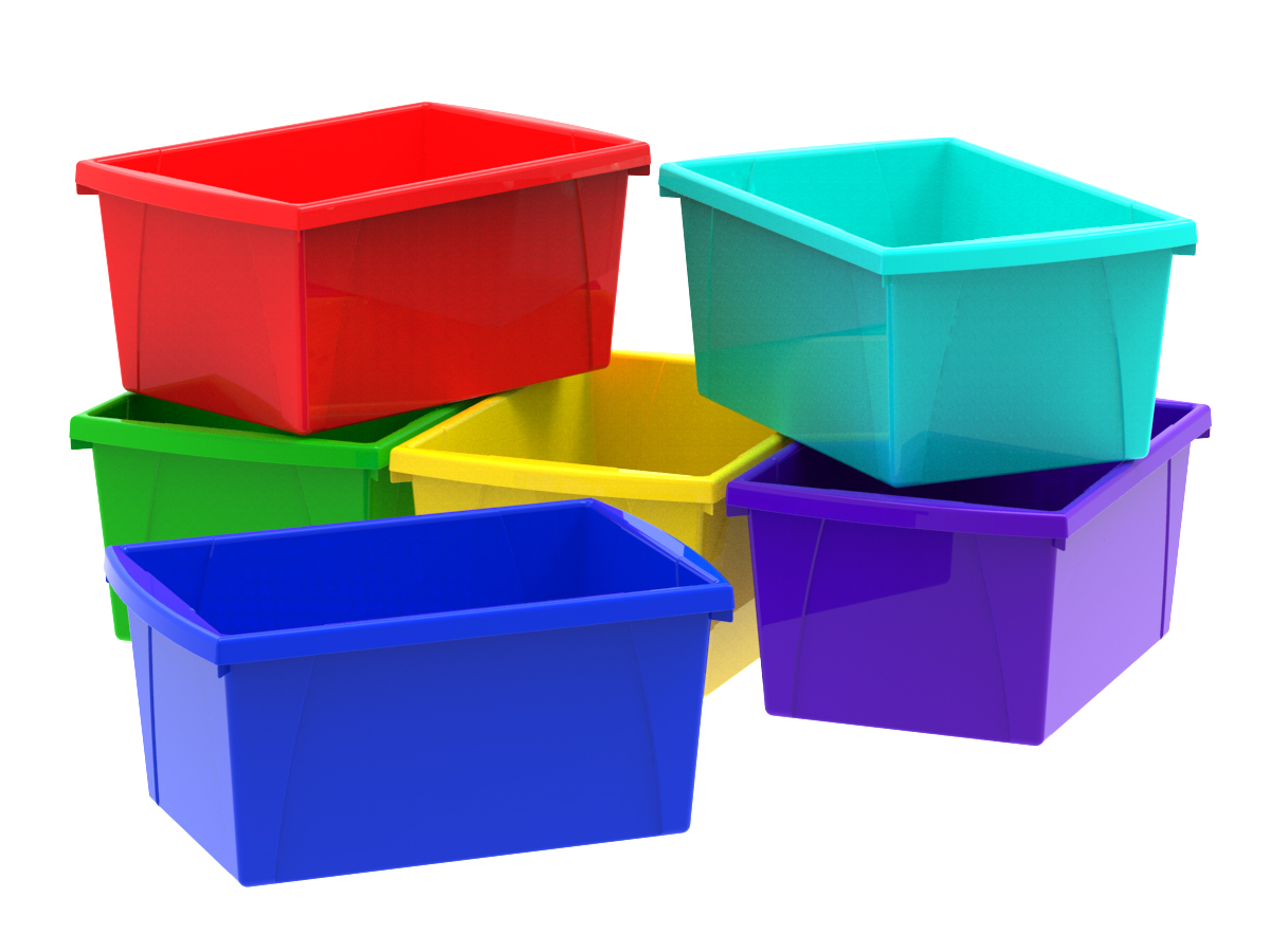 4 Gallon 15L Classroom Storage Bin, Assorted Colors (6 units pack) by Storex Ind. Corp.