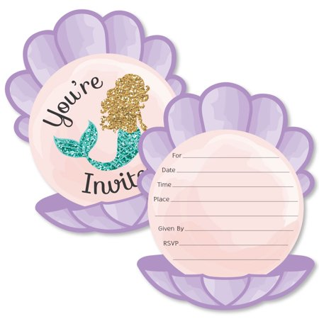 Let's Be Mermaids - Shaped Fill-In Invitations - Baby Shower or Birthday Party Invitation Cards with Envelopes - 12 Ct