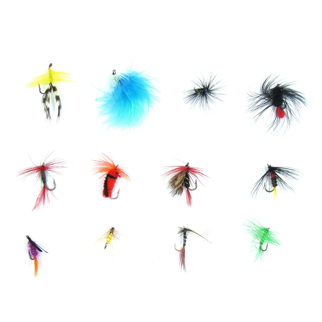 Unique Bargains 12 x Freshwater Lake Colorful Metal Fishing Hook Hair Lure by