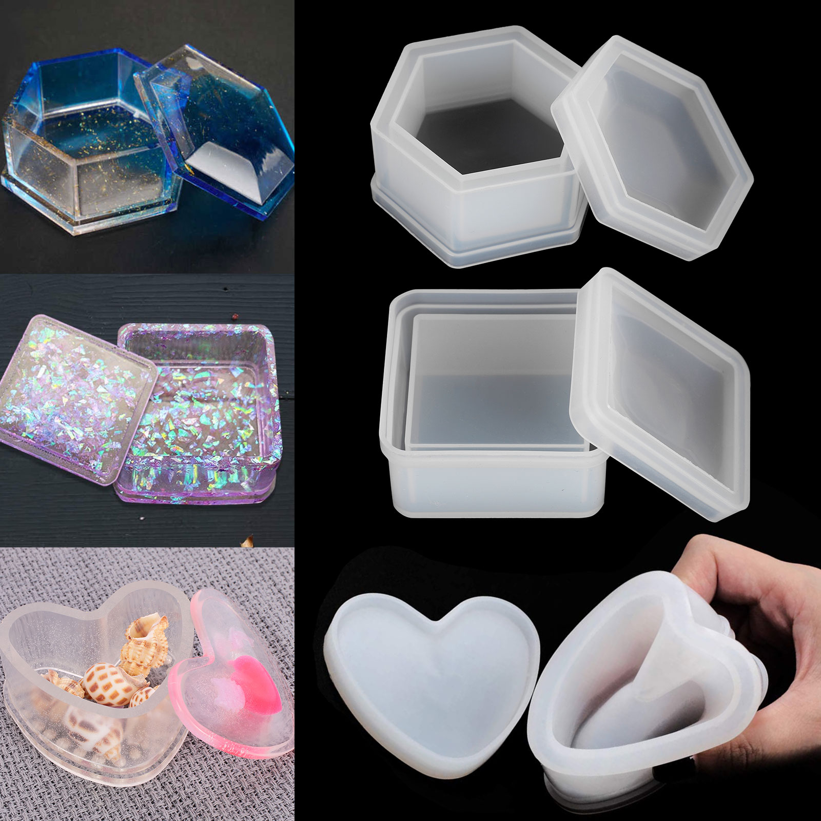 Silicone Hexagon Jewellery Storage Box Mold Resin Casting Mould DIY Making Craft