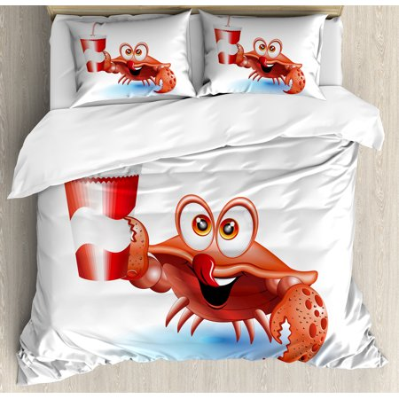 Crabs Queen Size Duvet Cover Set, Thirsty Marine Animal with Drink on a Paper Cup with Straw Summertime Theme, Decorative 3 Piece Bedding Set with 2 Pillow Shams, Vermilion White Blue, by Ambesonne