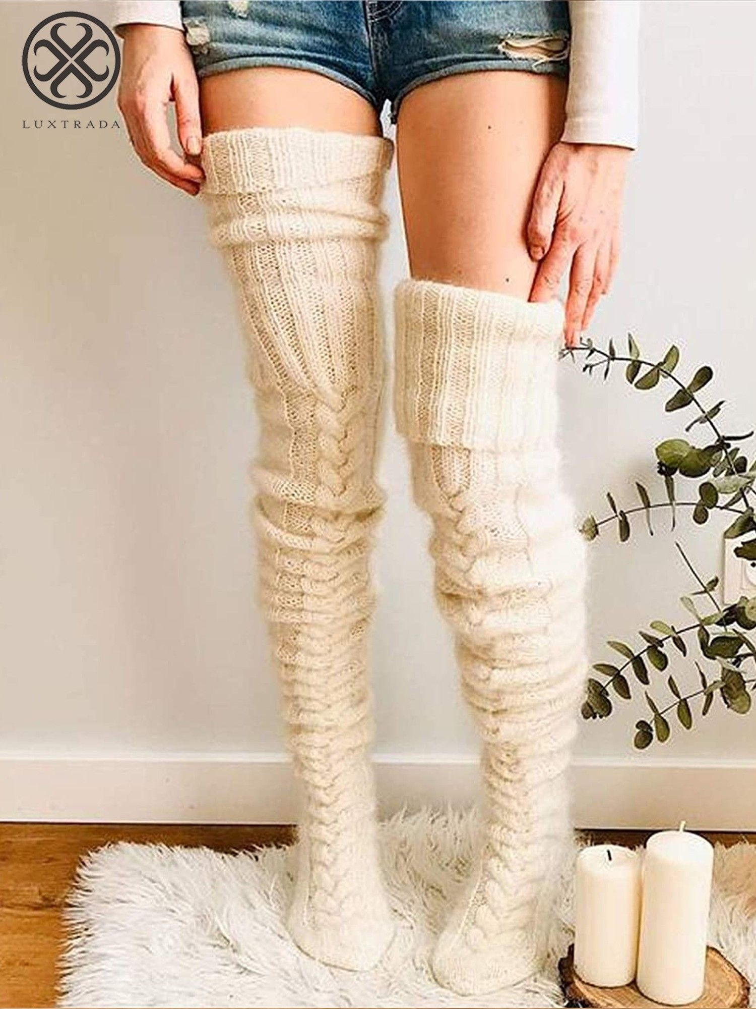 Details about  /Womens Ladies Winter Knitted Over The Knee Leg Warmer Thigh High Long Socks Xmas