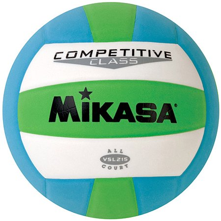 Mikasa VSL215 Competitive Class Indoor/Outdoor Volleyball, Green/White/Blue ()