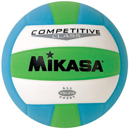 Mikasa VSL215 Competitive Class Indoor/Outdoor Volleyball, Green/White/Blue