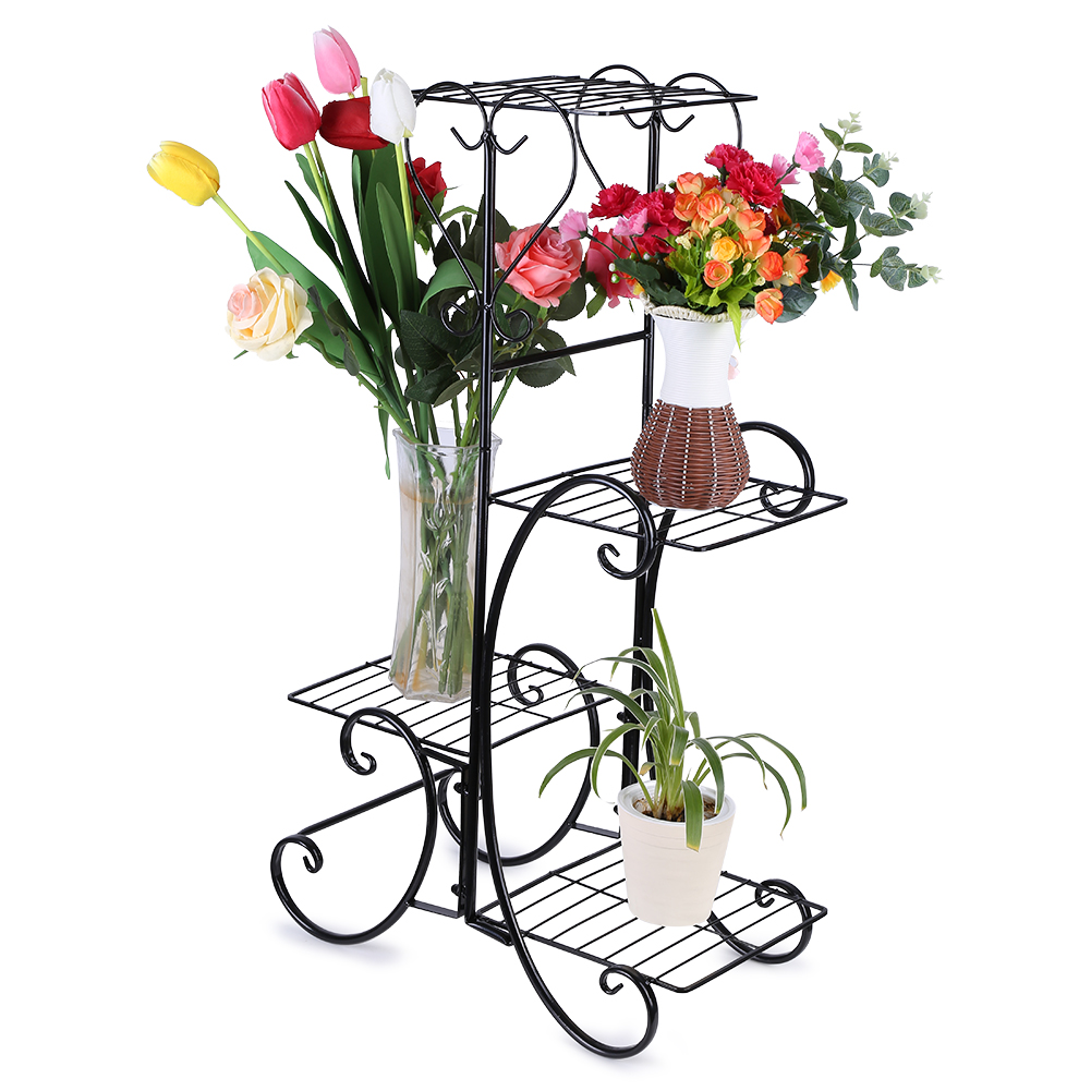 4 Tier Patio Flower Pot Rack, Decorative Metal Flower Pot Plant Stand Rack  Display Shelf