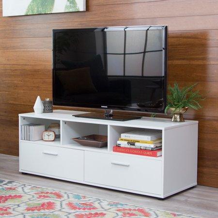 Finley Home Hudson White Low Profile Tv Stand Walmart Com