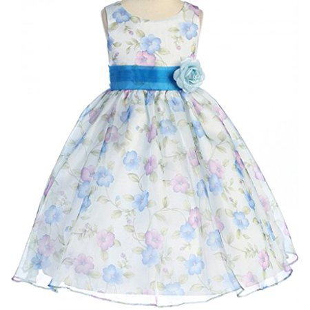 Big Girls' Gorgeous Sleeveless Dress Organza Floral Prints Easter Summer Flower Girl Dress Blue 10 (K19D9) - Blue Girls Dress