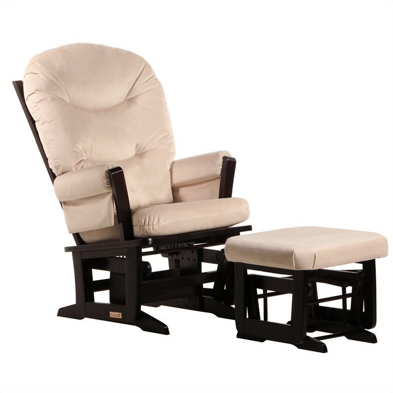 ULTRAMOTION by Dutailier Modern Glider and Ottoman Set in Espresso and Light Beige