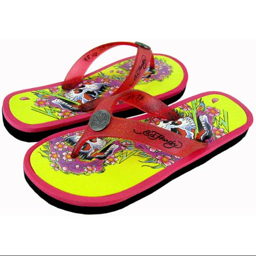 Ed Hardy Youth Beachcomber Sandal, Fuchsia/Yellow, US 13